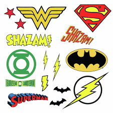 Dc Comics Superhero Logos 16 Wall Decal Superman Batman Room Decor Stickers Walmart Com Walmart Com