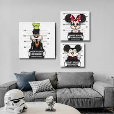 Mickey Mouse Wall Art Canvas With Minnie Donald Duck Pluto Living Room Print Poster With Free Shipping Worldwide Weposters Com