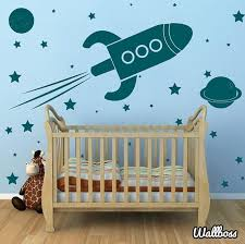 Large Rocket Ship Wall Stickers Spaceship Planets Kids Etsy Planet For Kids Star Themed Nursery Space Nursery