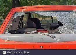 Frantumato auto posteriore in vetro danno di effrazione Foto stock ...