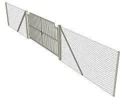 Chain Link Fence And Gate Detail Elevation 3d Model Sketch Up File Cadbull
