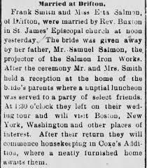 Salmon Rosetta Smith Frank Marriage - Newspapers.com