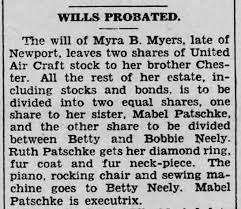 Myra Myers Will Probated - Newspapers.com
