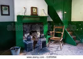 stone fireplace and wood burning stove