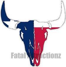 Texas Flag Bull Skull Vinyl Sticker Decal Hunting Southern Cow Tx State Farm Ebay