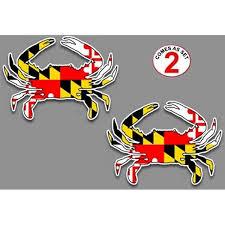 Amazon Com Maryland Flag Blue Crab Decal Sticker 5 X 7 Set Of 2 For Car Truck Suv Window Glass Automotive
