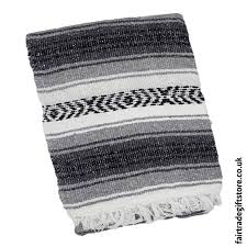mexican falsa rug blanket gray black
