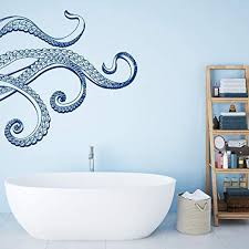 Amazon Com Wall Decal Octopus Tentacle Wall Decal Kraken Wall Decal Octopus Bathroom Decor Nautical Bathroom Decor Waterproof Stickers Sea Animals Stickers Agdfmbk0015 Arts Crafts Sewing