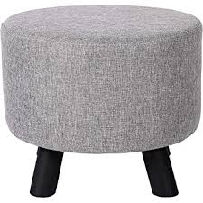 Amazon Com Birdrock Home Grey Linen Foot Stool Ottoman Soft Compact Round Padded Seat Living Room Bedroom And Kids Room Chair Black Wood Legs Upholstered Decorative Furniture Rest Vanity
