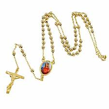 rosary beads statement chain necklace