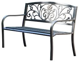 curved metal garden bench with heart