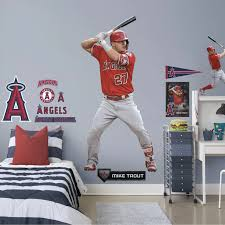 Mike Trout At Bat Officially Licensed Mlb Removable Wall Decal In 2020 Mike Trout Removable Wall Decals Removable Wall