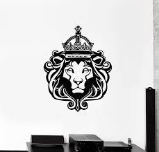 Vinyl Wall Decal Lion King Crown Wild Animal Cat Head Predator Sticker Wallstickers4you