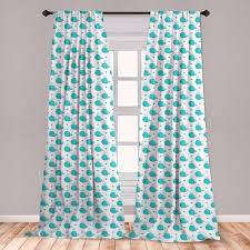 East Urban Home Ambesonne Whale Window Curtains Little Fish Squirting Water Hearts Childish Pattern For Baby And Kids Lightweight Decorative Panels Set Of 2 With Rod Pocket 56 X 63 Pale Blue