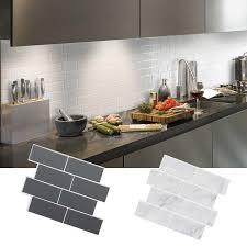 Creative 3d Grey White Tile Peel Wall Stick Backsplash Self Adhesive Wall Decal Sticker Diy Kitchen Bathroom Home Decor Supplies Wall Stickers Aliexpress