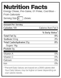 gatorade cool blue prime energy chews