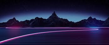 3440x1440 synthwave landscape