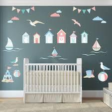 Beach Decal Huts Seaside Wall Stickers Sailing Boats Baby Nursery Wall Art Decals Nursery Wall Stickers Wall Stickers