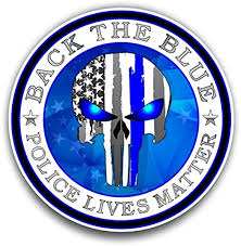 Amazon Com Back The Blue Punisher American Flag Sticker For Cars Trucks For Honor And Support Of Our Officers Vinyl Window Bumper Decal 4 Inch Automotive