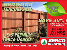 1x5x6 Premium Redwood Fence Boards 1 65 Each Berco Redwood Sacramento Materials For Sale Gold Country Ca Shoppok