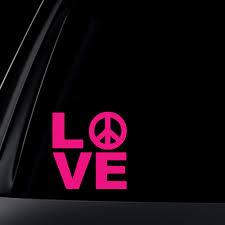 Love W Peace Sign Car Decal Sticker
