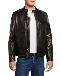 racer pebbled cowhide leather jacket