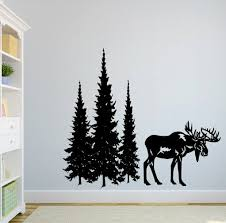 Loon Peak Dorella Moose And Pine Evergreen Tree Forest Wall Decal Wayfair