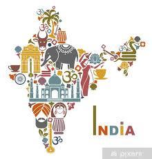 Sticker Carte de l'Inde • Pixers® - Nous vivons pour changer