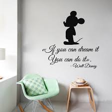 Mickey Mouse Wall Decals Quote If You Can Dream It You Can Do It Cartoon Art Home Vinyl Sticker Disney Wall Decals Mickey Mouse Wall Decals Baby Boy Room Decor
