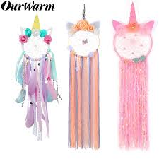 Ourwarm Unicorn Dreamcatcher For Girls Room Nursery Decor Wall Hanging Decoration Dream Catcher Kids Room Birthday Wedding Gift Wind Chimes Hanging Decorations Aliexpress