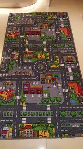 kids large city car race play mat rug