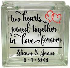 This Decal Is Personalized Please Leave Names And Date In Notes To Seller At Checkout Lack Of Christmas Glass Blocks Painted Glass Blocks Glass Block Crafts