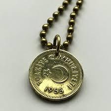 1955 turkey 5 kurus coin pendant