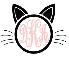 Monogram Initial Cat Kitten Vinyl Decal For Laptop Yeti Cooler Cups Coffee Mugs Car Stickers Silhouette Cameo Vinyl Vinyl Monogram Vinyl Decals