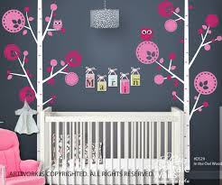 Birch Tree With Owls Wall Decal Forest Decal