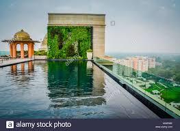 Empty Infinity Pool On Rooftop Terrace Overlooking New Delhi India Stock Photo Alamy