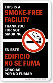 Bilingual This Is A Smoke Free Facility Decal Signs Sku S 9487