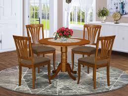 Dlav5 Sbr C 5 Pc Small Kitchen Table Set Round Table And 4 Kitchen Dining Chairs East West Furniture