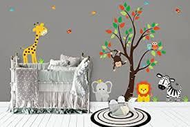 Amazon Com Nursery Room Decor Baby Decals Wall Stickers Nursery Jungle Decals Safari Stickers Kids Room Wall Print Children S Room Decorations Modern Style Decals Nursery Tree Decal Nursery Wall Decor Baby