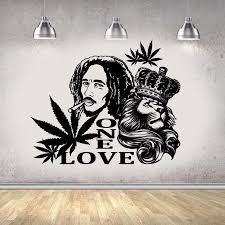 Vinyl Wall Decal Bob Marley Lion One Love Wall Sticker Reggae Music Wa Borizcustom