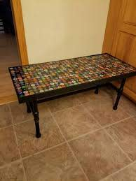 bottle cap coffee table resin table