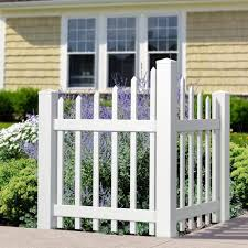 Outdoor Essentials 4 Ft H X 3 Ft W White Vinyl Scalloped Spaced Picket Corner Accent Fence Panel Kit 175841 The Home Depot