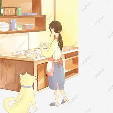 البنات مشغولات في المطبخ وكذلك مع الكلاب يطبخن في المطبخ ويلتقطن