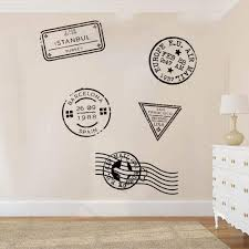 Amazon Com Wall Stickers Murals Travel Stamp Wall Decal Bedroom Kids Room Journey Stamp Post Office Travel Stamp Wall Sticker Living Room Vinyl Home Decor Art Kitchen Dining