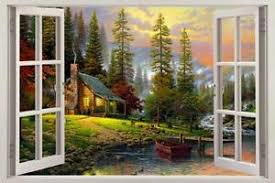 Cabin In The Woods 3d Window View Decal Wall Sticker Decor Art Mural Scenic View Ebay