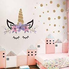 Creative Unicorn Stars Wall Stickers For Girls Bedroom Flowers Wall Decals Gold Pink Polka Dots Decor 40 60cm Wall Stickers Aliexpress