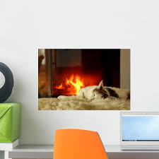 Fireplace Cat Wall Decal Wallmonkeys Com