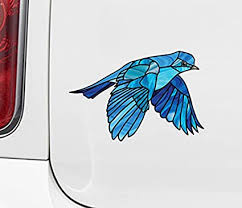 Amazon Com Bird Bluebird In Flight Stained Glass Style Opaque Vinyl Car Decal Yadda Yadda Design Co Md 5 75 W X 4 H Arts Crafts Sewing