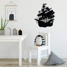 Amazon Com Vinyl Wall Art Decal Pirate Ship Cool Boy S Girl S Bedroom Nursery Playroom Classroom Sticker Trendy Indoor Outdoor Fun Kid S Home Apartment Decoration 22 X 19 Kitchen Dining