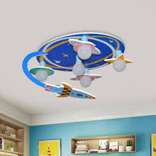 Blue Outer Space Semi Flush Ceiling Light Kids 5 Bulb Wood Flush Mount Lighting Fixture Takeluckhome Com